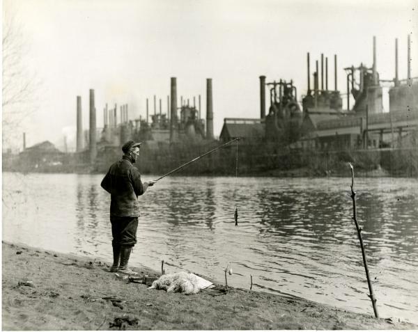 Man fishing, Bethlehem Steel, 1937.