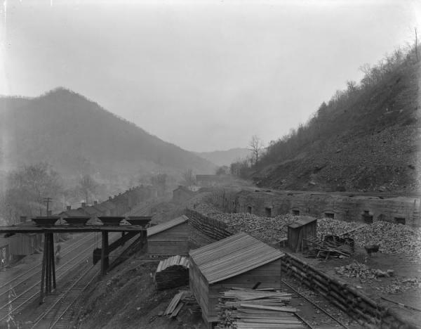 Coal Mines and Houses near the Railway and Coal Mining Site, Connellsville, Pa.