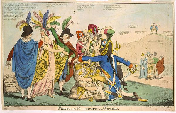 "Engraving, hand-colored – British satire of Franco-American relations after the XYZ Affair in May of 1798; 5 Frenchmen plunder female ""America"", while five figures representing other European countries look on. John Bull sits laughing on ""Shakespeare's Cliff."""