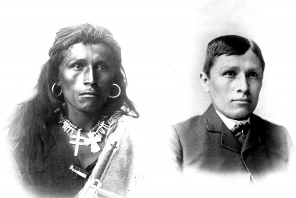Images of a Native American, young, man with long hai, hoop earrings, necklaces and soulful eyes. An image of the same man with short hair, wearing a suit adn tie.