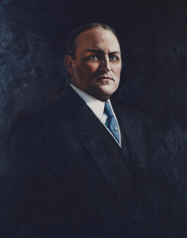 Oil on canvas of John Tener wearing a suit.