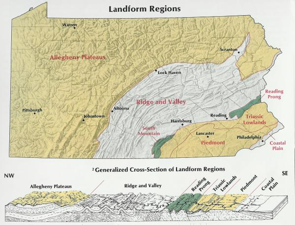 Map of the Landform Regions of Pennsylvania.