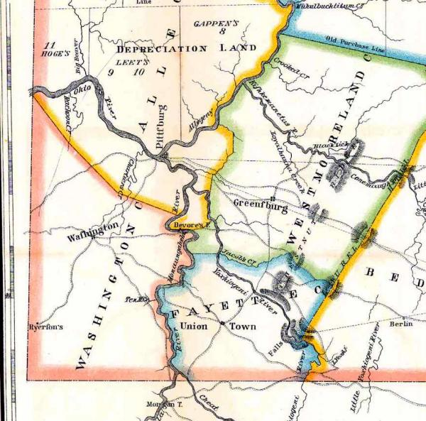 Map of Washington County in 1790, before its division.