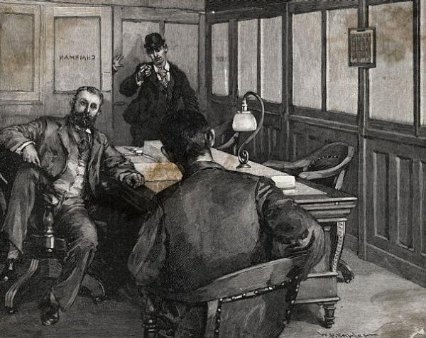 Engraving of Alexander Berkman's attempt to assassinate Henry C. Frick in his office. It looks as though Frick had been in a meeting with another gentleman. Berkman interrupts the meeting and is shown aiming a gun at the back of Frick's neck, while a hand is seen coming through the doorway trying to capture him.