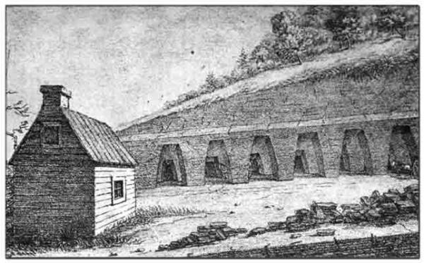 An 1822 sketch of a row of mines burrowing into a hillside. In the foreground is a small building.