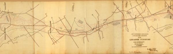Road map showing minor fortifications along the Philadelphia and Lancaster Turnpike. Relief shown by form lines.  Pen-and-ink, red ink, and pink watercolor.