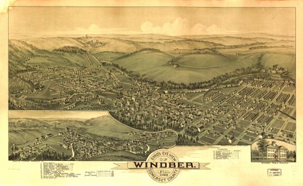 Birds eye view of the town of Windber, with numbered identification legend which includes the following: