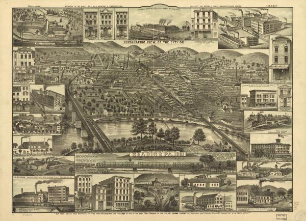 Topographic view of the city of Reading, Pa. 1881. Compiled from sketches by J. Hanold Kendall.