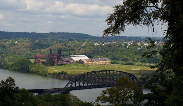 Beautiful color photograph of the Pennsylvania landscape and Carrie Blast Furnace.