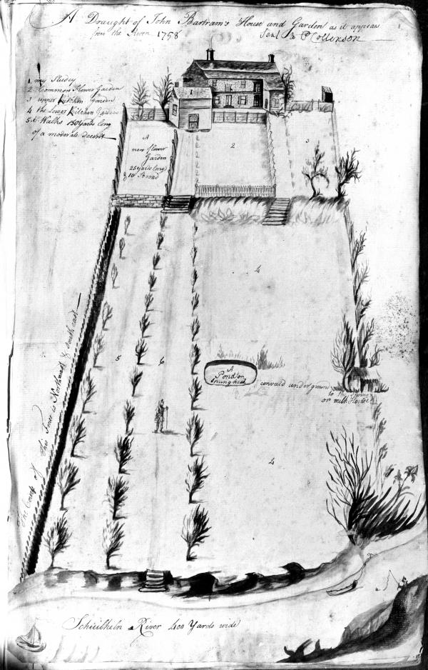 """A line drawing of """"A Draught of John Bartram's House and Garden as it appears from the River"""""""