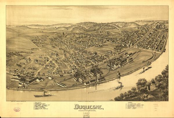 Birds eye view of the town of Duquesne and the Monongahela River,  with numbered identification legend which includes the following: