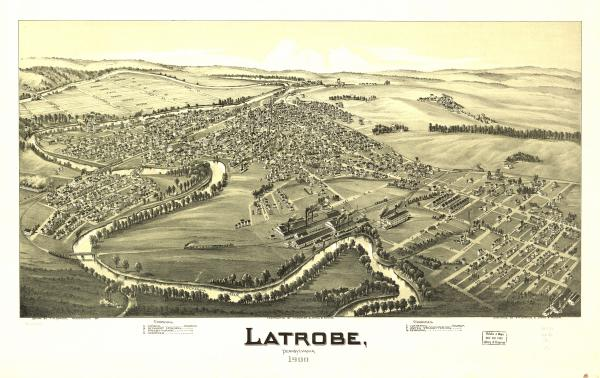 Birds eye view of  Latrobe, Pennsylvania 1900.