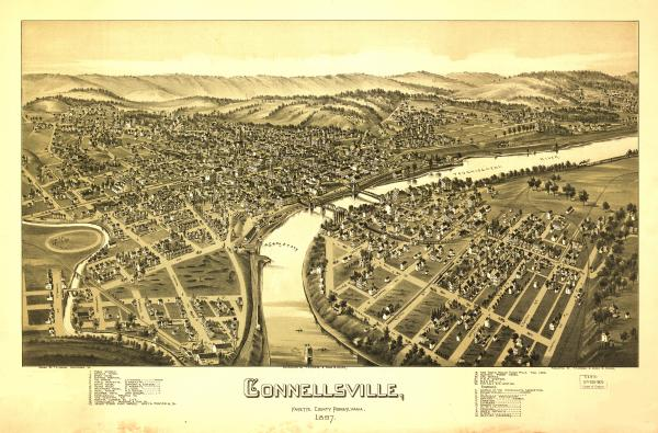 Birds eye view of the town of Connellsville, with numbered identification legend which includes the following: