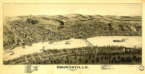 Birds eye view of the town of Brownsville, with numbered identification legend which includes the following: