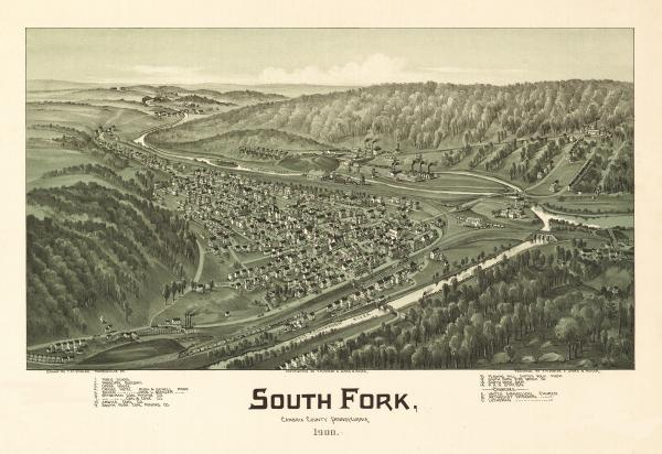 Birds eye view of the town of 