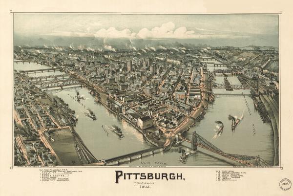Birds eye view of Pittsburgh