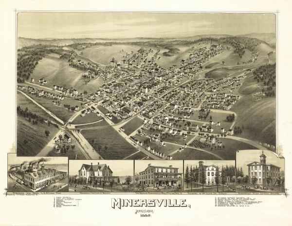 Birds eye view of the town of Minersville, with numbered identification legend which includes the following: 13. Marble and Granite Works 16. Minersville Screen works 17. Minersville Iron Works 19. Diamond Brewing Co.