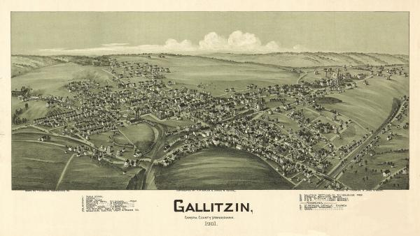 Birds eye view of the town of Gallitzin, with numbered identification legend which includes the following: