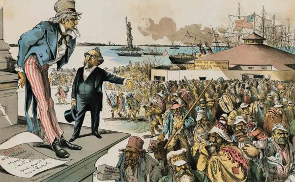 Cartoon shows a man holding a top hat in one hand and gesturing toward horde of arriving immigrants.