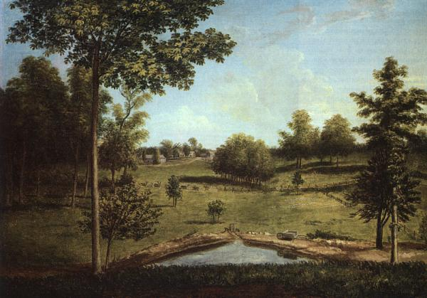 Landscape painting of Sellers Hall.