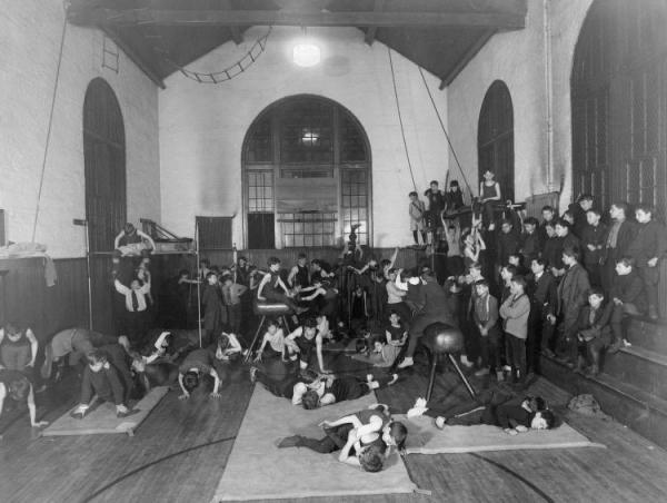 Boys Playing in the Gymnasium.