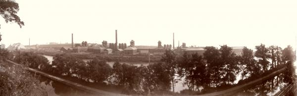 Panorama view of the Bethlehem Steel Plant from across the Lehigh River, in 1896, with the iron furnaces. Lehigh Canal is in the foreground.