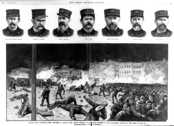 Two page spread showing police charging rioters on May 4th in Haymarket Square, Chicago, and bust portraits of seven policemen.