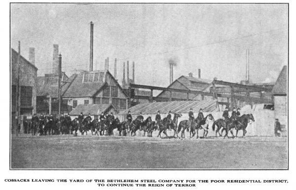 Cossacks on horseback leaving the steel mill.