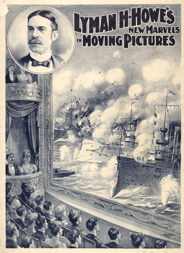 Film poster depicting an audience watching a screen with a screen image of battle ships at war.