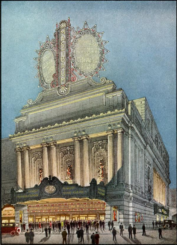 Artist's Sketch Showing Detail of Exterior Architecture and Lighting.