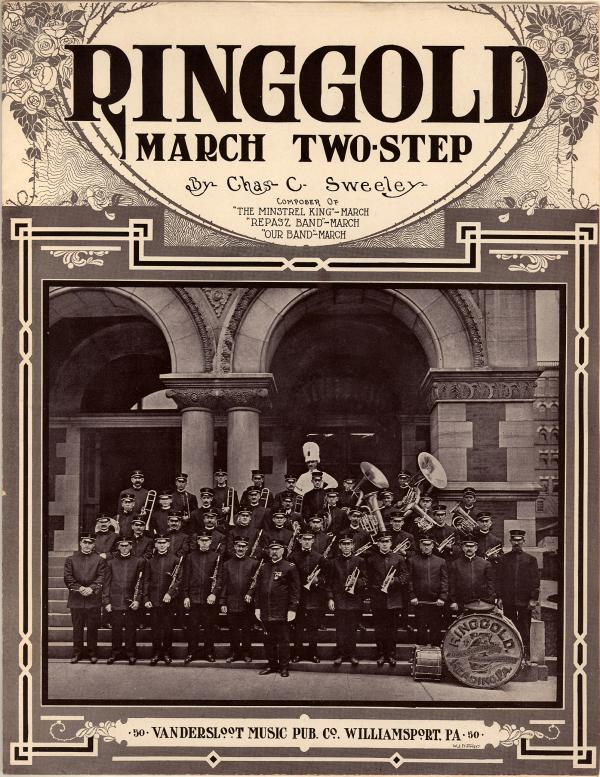 Cover of the sheet music depicting a big band ensemble standing in front of a building, wearing their uniforms, and holding their instruments.