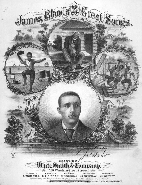 """Lithographic image of James Bland, from the cover to """"James Bland's Three Great Songs,"""" White, Smith and Co., 1879."""