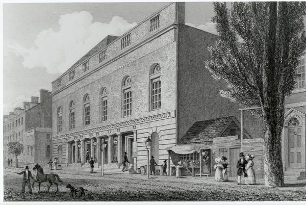 Engraving of the exterior of the Theater.