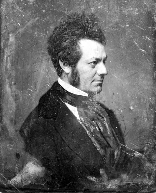 Edwin Forrest, head-and-shoulders portrait, nearly in profile to the right, with side whiskers.