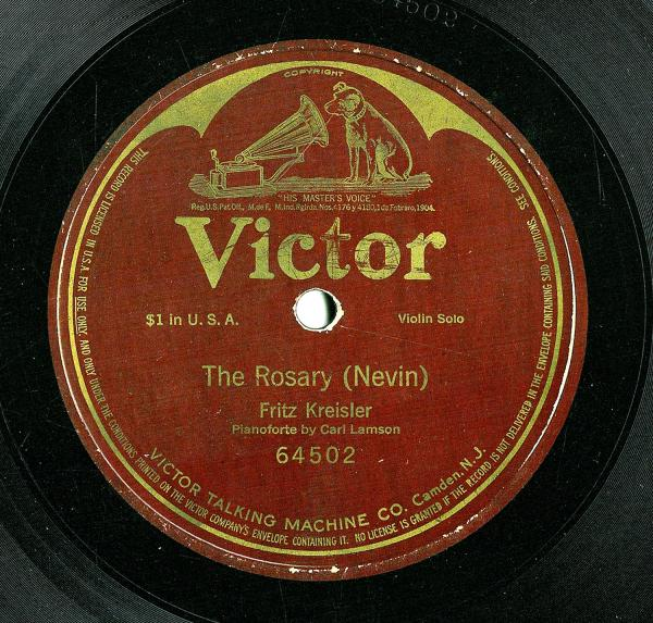 "Photograph of Victor record with label bearing the title of ""The Rosary"", by Nevin."