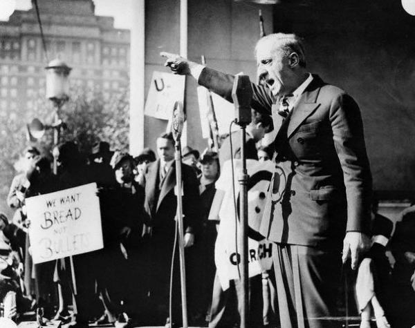 General Smedley D. Butler, U.S. Marines, retired, pictured as he addressed a crowd of 6,000 participants in an anti-war demonstration on Reyburn Plaza, Philadelphia.