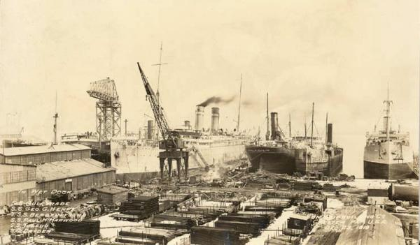 Image of the Dry Dock, four ships, and lumber.