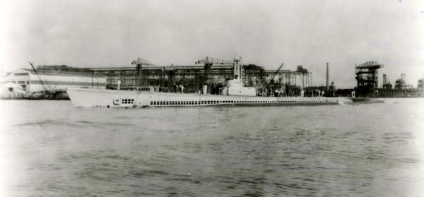 Image of a submarine at the shipyard.