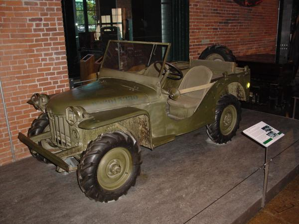 Color image of the jeep on display.