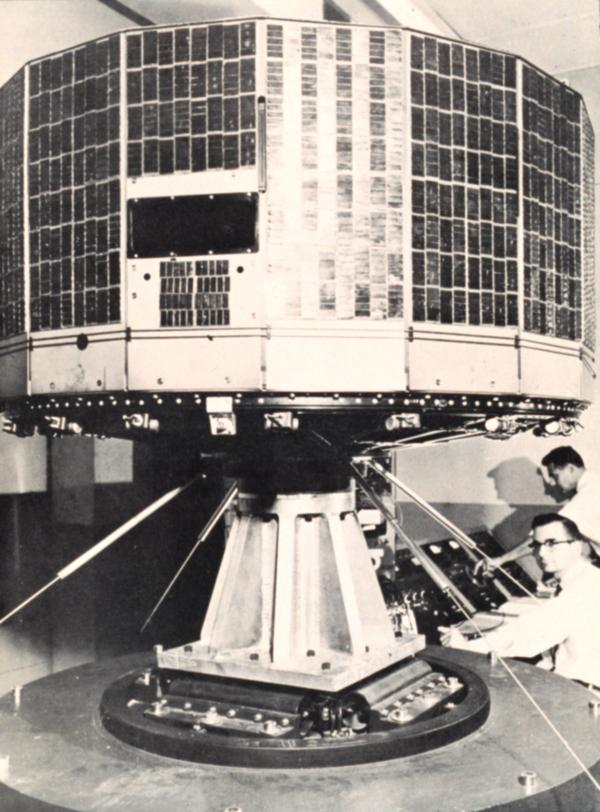 TIROS I satellite on test stand during preliminary test stage.