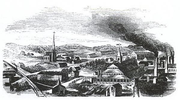 Engraving of Phoenix Iron Works, including community buildings.