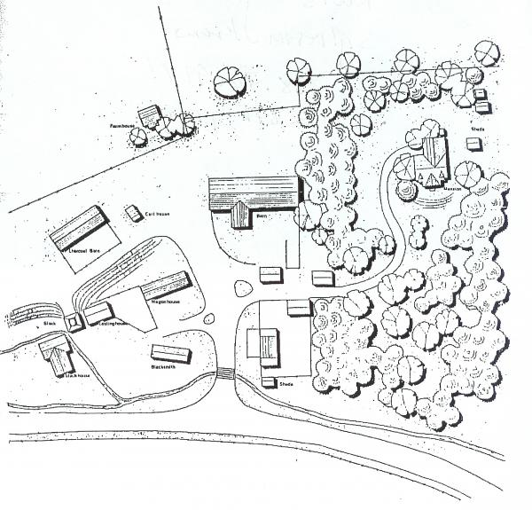 Schematic view of original structures at Centre Furnace during the second period, 1826-1858.