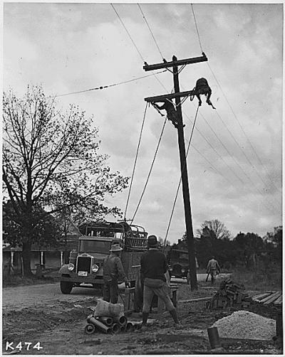 Men raising poles and line.