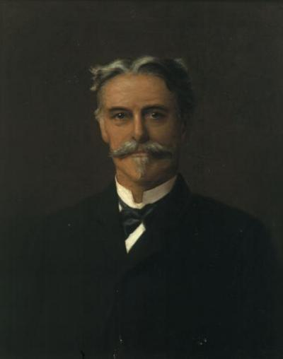 Oil on canvas portrait of a man wearing a tuxedo, head and shoulders.