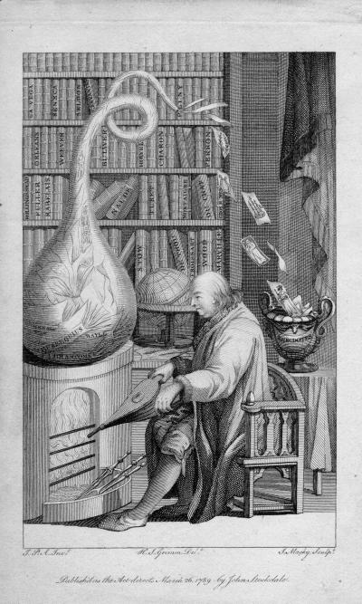 A caricature of Franklin melting the works of earlier authors in order to create his own pot of