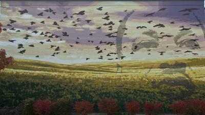 Photograph shown depicts only one wall of this mural which stretches across three walls of the Martin Luther King High School. The outline facce of Martin Luther King Jr. is to the right and blackbirds fly across the canvas.