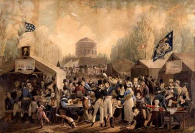 Oil on canvas of the nineteenth century celebration scene at the waterworks and surrounding grounds of Philadelphia. This painting also depicts a festive crowd of white soldiers, merchants and citizens, assembled at tables and under tents, while a lone black boy runs away.