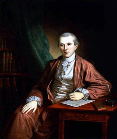 Portrait painting of Dr. Benjamin Rush seated at a table.
