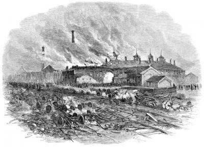 Burning Of The Round-House At Pittsburgh