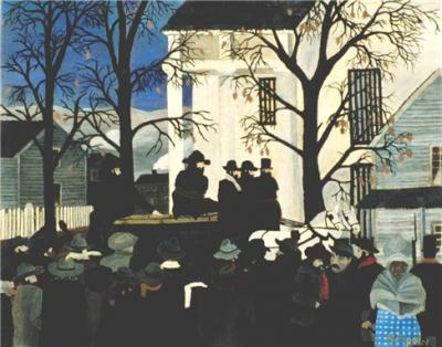 It is a bleak and dreary day, with leaf bare trees. Figures face the wagon that carries John Brown, who is tied with rope and sitting on his own coffin. In the bottom right hand corner, a black woman in a blue and white dress, shawl, and hat faces the viewer.
